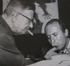 J-P. Sartre y R. Gallimard haciéndose cariñitos.